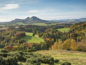 Scott's View, overlooking the valley of the River Tweed and the Eildon Hill